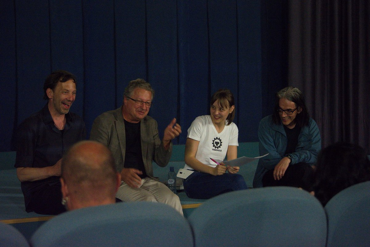 "Film director Igor Zupe, current Laibach bandleader Ivan ""Jani"" Novak, moderator Kaja Čop, and Dejan Knez (all from Slovenia), in the talk following the projection of the documentary film on Laibach."