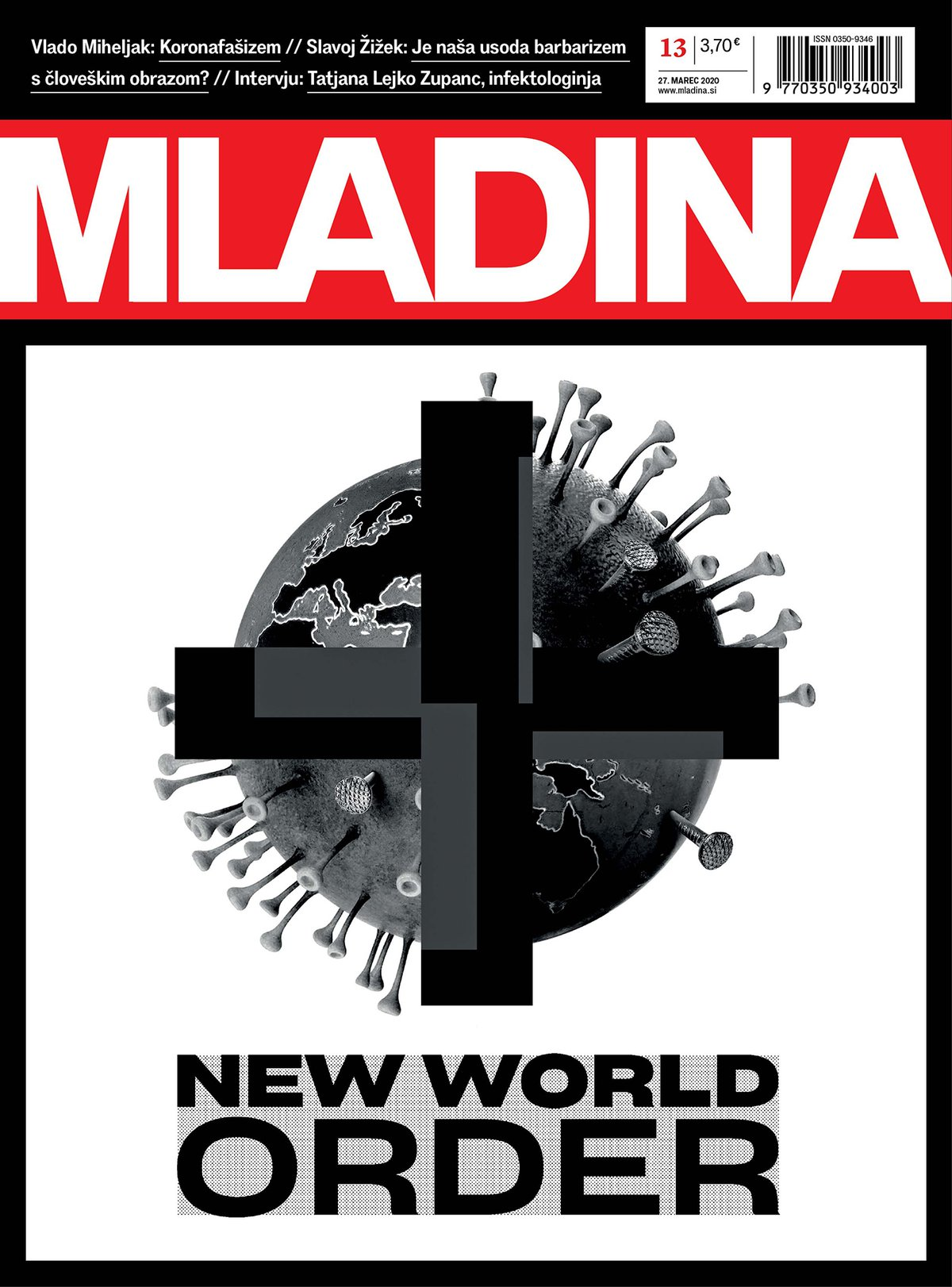 Cover of Mladina weekly, 27 March 2020